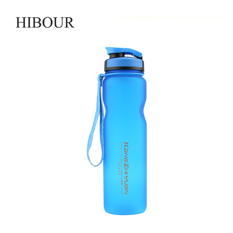 HIBOUR Candy Colors Unbreakable Frosted Leak-proof Plastic Kettle 1000mL Portable Water Bottle for Travel Yoga Running Camping