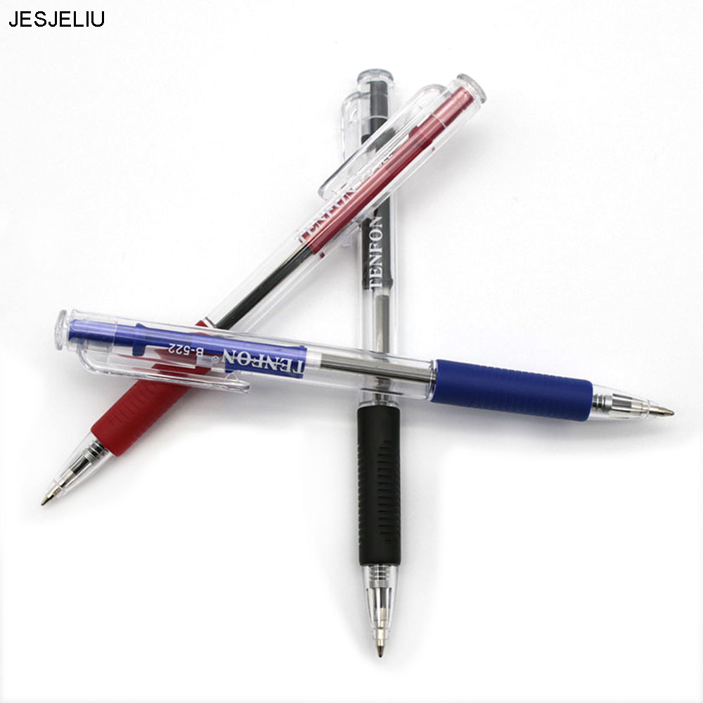 2 Pcs Plastic Ball-point Pen Red, Blue And Black Colors Ballpoint Custom Transparent Ballpoint Pen