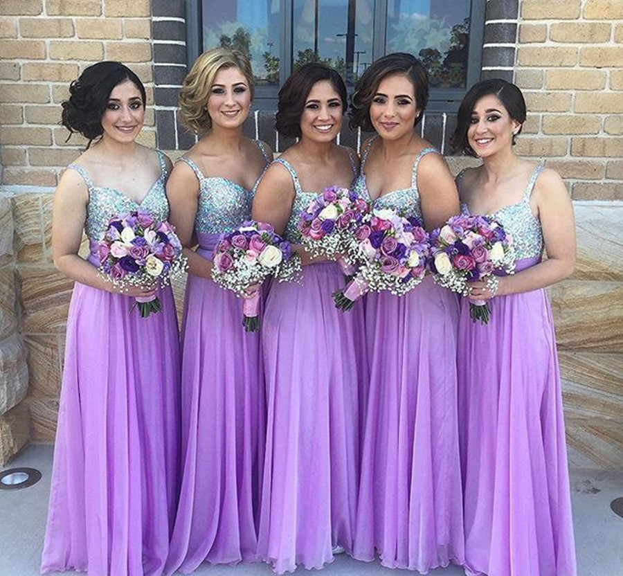 Gorgeous Sweetheart Silver And Lavender Bridesmaid Dress Wedding Party With Spaghetti Straps Chiffon Gown In Dresses From