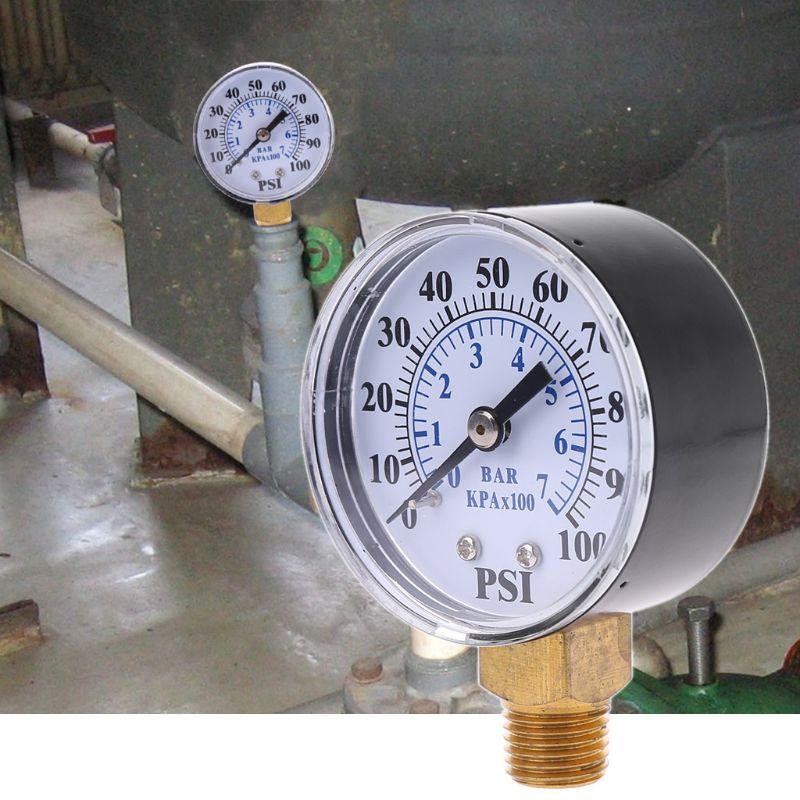 Well Pump Pressure Gauge 1/4'' NPT Thread 0-100 PSI 0-7 Bar Water Air Gas Pressure Monitor