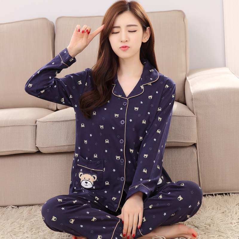 Womens Cotton Pajamas Sets Bear Casual Sleepwear Button Long Sleeve Nightgowns M-3xl Long Pants Sleepwear Pyjamas Sets Plus size
