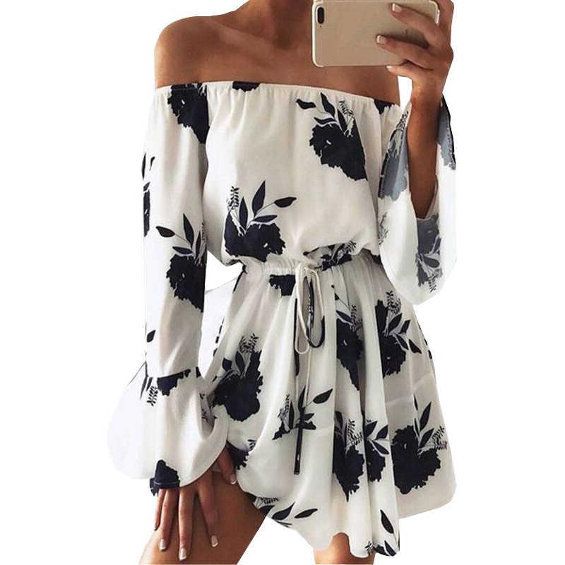 01fe2dbde96 New summer dress women beach dresses 2019 hot Foreign trade backless flower  print off shoulder womens