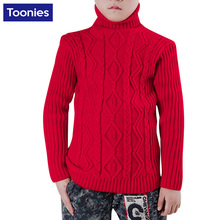 2016 Children Autumn Winter Sweater Baby Boys Girls Knitted Colid Color Turtleneck Pullover Warm Outwear Kids Thicken Tops Wear