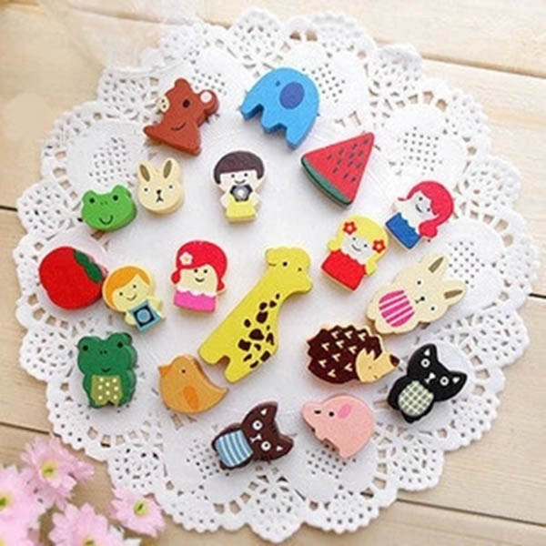 19Pcs/Set Fridge Magnet Wooden Colourful Cartoon Cute Animals Refrigerator Magnets Childrens Kids Gifts 2017ing