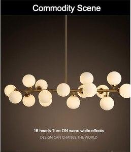 Image 2 - Modern Glass Balls Pendant Lamp Light Luxury Branch Chandelier Magic Bean LED Lighting Fixture Living Room Home Decoration
