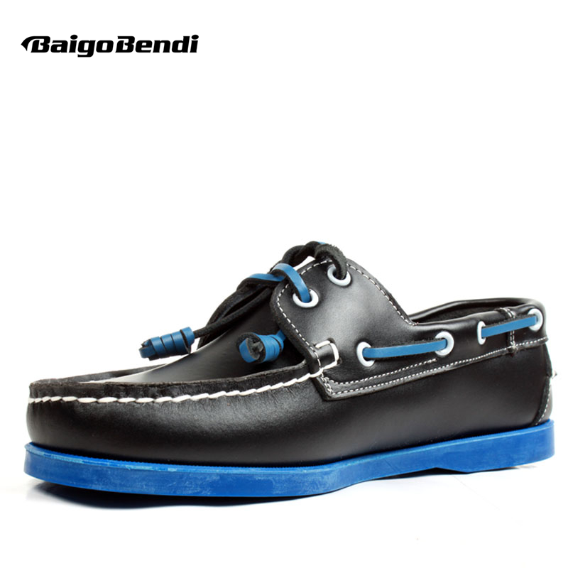 US6-12 Plus Size 45 46 Genuine Leather Mens Lace Up Loafers Casual CAR Shoes Moccasin Men Boat Shoes