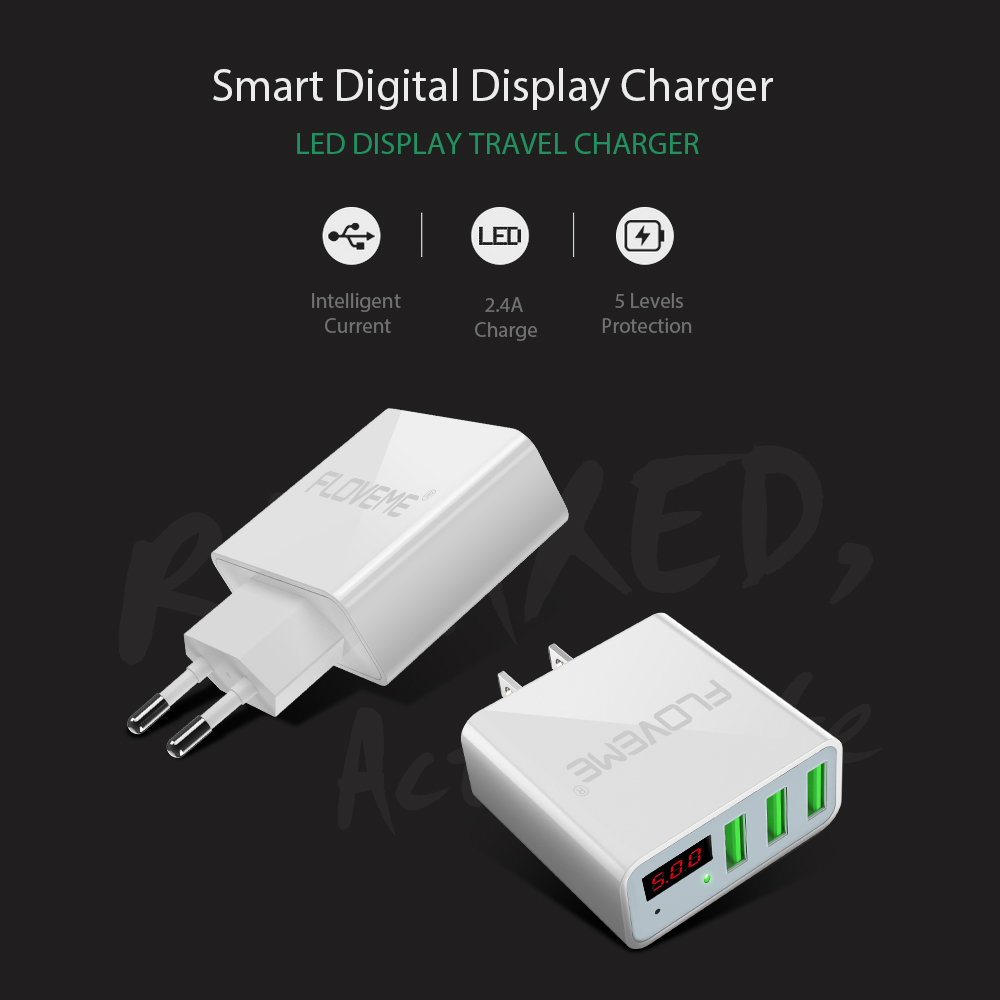Image 2 - FLOVEME LED Digital 3 Ports USB Charger Universal EU Plug Wall Mobile Phone Charger For iPhone X 8 7 For Samsung S8 S9 Adapter-in Mobile Phone Chargers from Cellphones & Telecommunications
