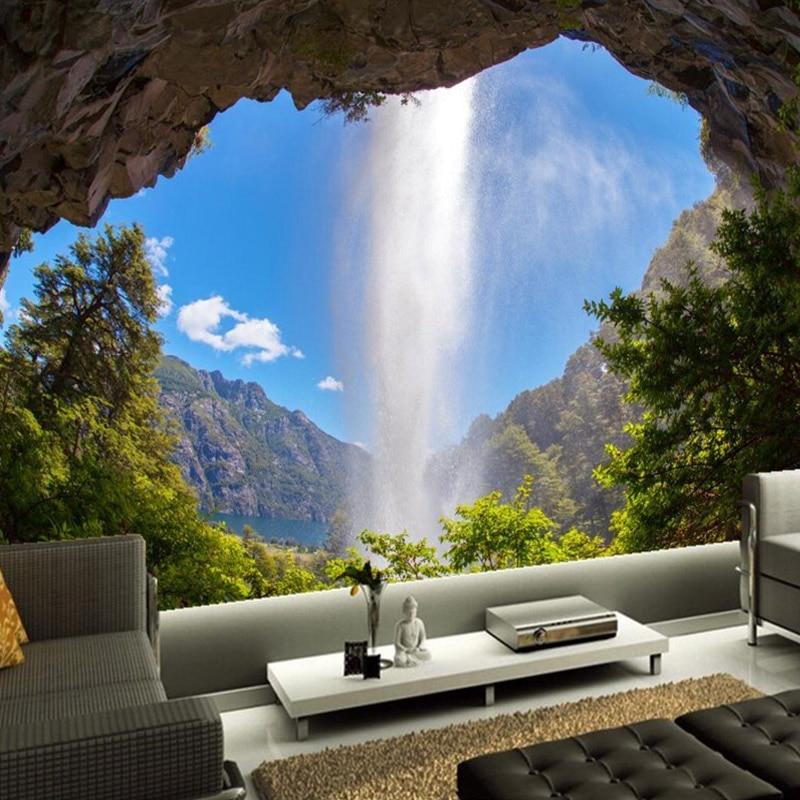 Custom 3D Wall Mural Dormer Waterfall Blue Sky Wallpaper Natural Landscape Bedroom Living Room Mural Wall Papers Papel De Parede