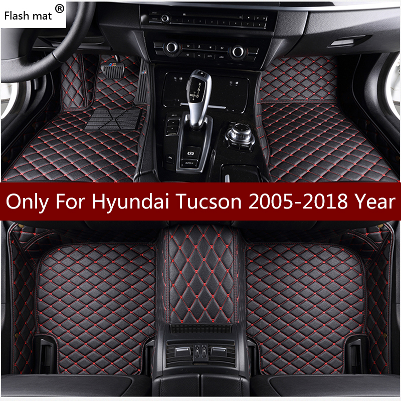 Flash mat leather car floor mats for Hyundai Tucson 2005-2013 2014 2015 2016 2017 2018 Custom foot Pads automobile carpet cover image
