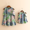 1 PC Floral Denim Summer Mother and Daughter Dresses Family Matching Clothes Mom Baby Girls T1/2531DBO