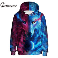 Feelincolor Hot Style 3d Hoodies Autumn Winter Top Digital Wolf Sweatshirt Men/Women Hoodie Couples Hodded Hip Hop moleton