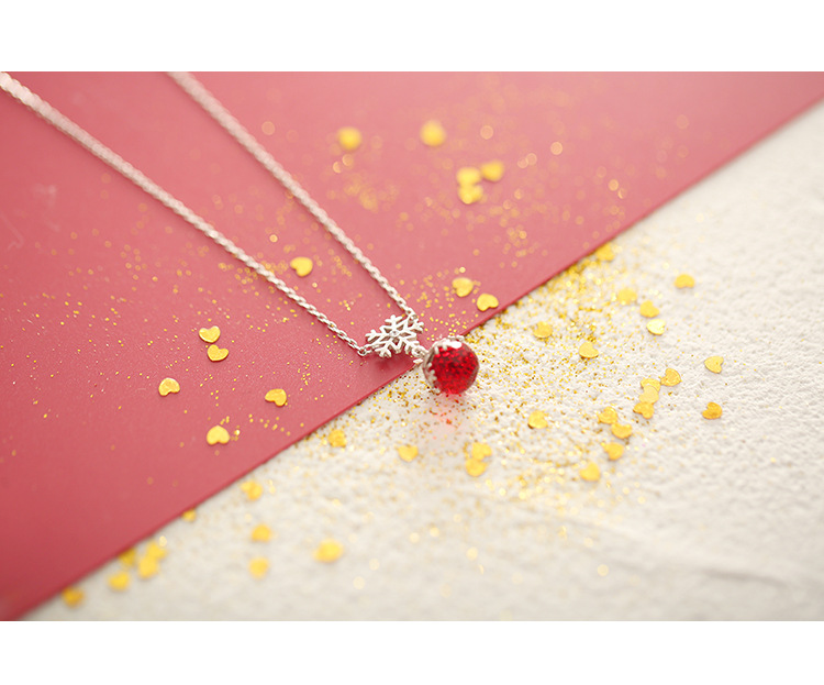ZIRIS 2018 New Style Women Necklace Pendant S925 Stering Silver Red Crystal Beads Snow Flake Lips Charm Choker Birthday Gift