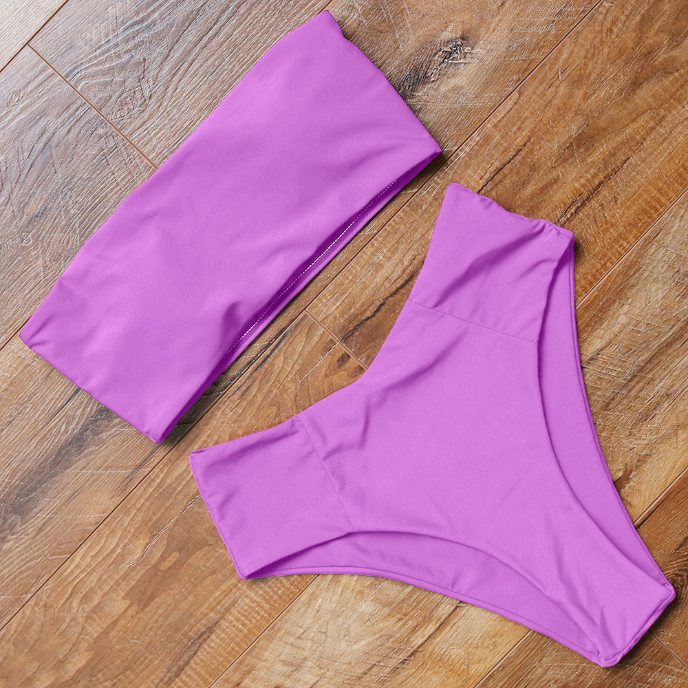 bandeau swimsuit push up bikini 2019 sexy high waisted bikini set solid bathing suit female swimwear women summer swimming suit