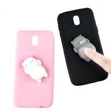 Cute 3D Squishy Cat Cartoon Case For Samsung J3 J5 J7 2017 EU Candy Color Soft Phone Cases Cover Huawei P9/P8 Lite