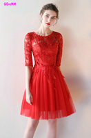 Elegant Red lace Prom Dresses 2017 New Scoop Tulle A-line Knee-Lingth Celebrity Party Gowns Short Homecoming Dress Real Photos