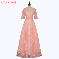 Bridesmaid Dresses Long 2018 New Lace V Neck Embroidery Pink Half Sleeves
