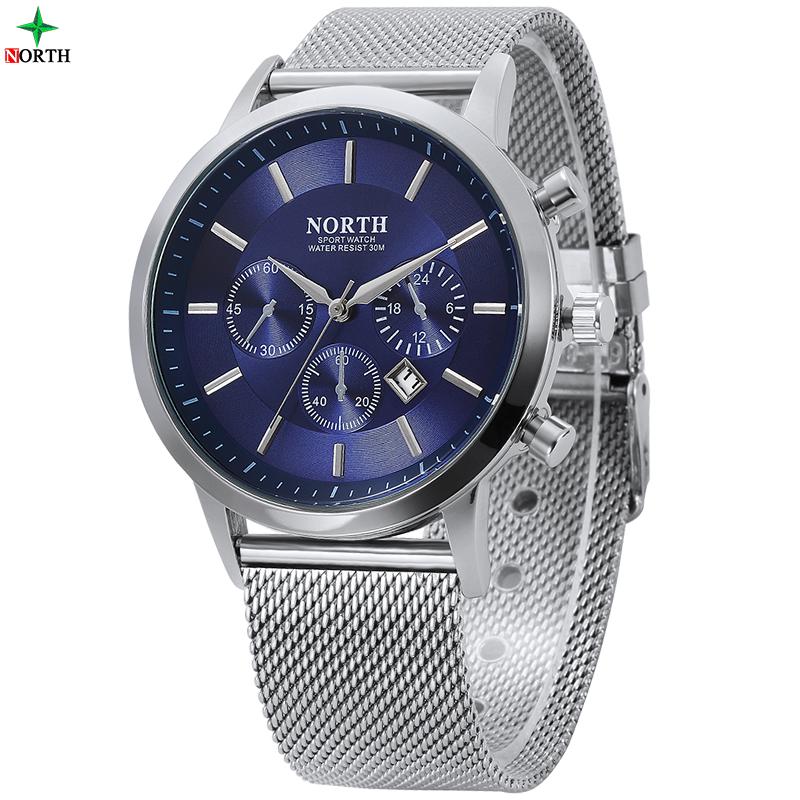 Prix pour Hommes montres de mode montre-bracelet north 30 m étanche en acier inoxydable casual male horloge desgin militaire quartz hommes sport montre