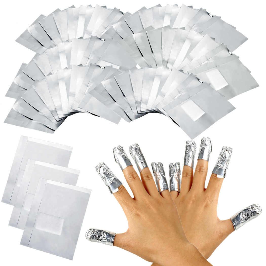 100ピース/50ピース箔ネイルシルバー紙アートクリーンアルミ箔ソークオフ紫外線ledジェルポリッシュネイルアートラップリムーバーアルミ箔シルバー紙