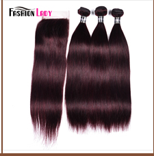 HTB11UibdBWD3KVjSZFsq6AqkpXaY Fashion Lady Pre-Colored Ombre Brazilian Hair 3 Bundles With Lace Closure 1B/ 99J Straight Weave Human Hair Bundle Pack Non-Remy