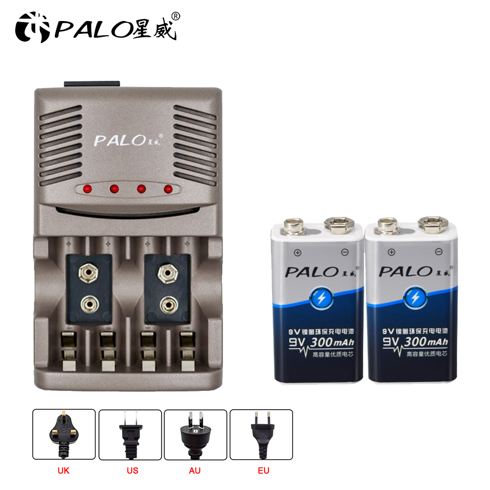 2017 Newest C819 4 Slots Battery Charger with LED Light for AA / AAA NiCd NiMh Rechargeable Batteries +2pcs NI-MH 300mah 9V 6F22