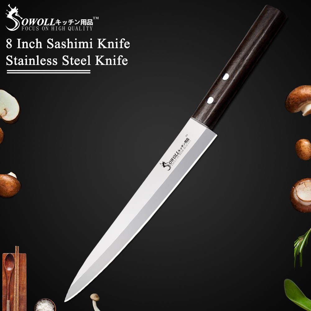 SOWOLL Brand 8 Inch Sashimi Knife Perfect Japanese Style Kitchen Knife High Quality Stainless Steel Blade Cooking Knife Tools