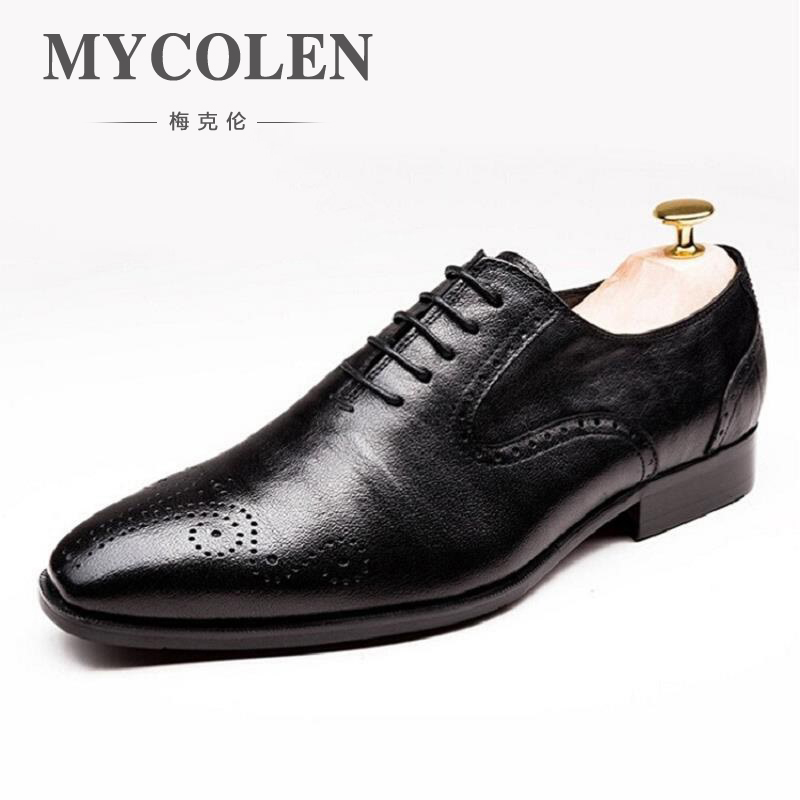MYCOLEN High Quality Leather Dress Shoes Pointed England Style Business Formal Shoe Wedding Black Office Shoes For Men sapato mycolen men formal shoes luxury business dress shoes full leather pointed toe loafers men wedding leather shoe black moccasins