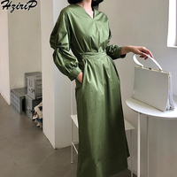 HziriP Women Casual Elegant Loose Long Dress 2018 Autumn Simple Solid Long Sleeves Hight Waist Aestheticism Wind Dresses Female