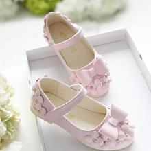 New Children Shoes Girls Autumn Fashion Bow Princess Flat Kid Designer Soft Pu Leather Single For