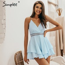 Simplee Sexy cuello en V Mujer playsuit Hollow out waist spaghetti Correa señoras mono mameluco verano ropa de playa overoles 2019(China)