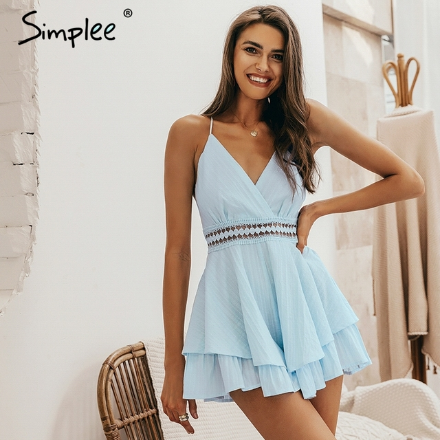 be7f4bdaae9c Simplee Sexy v-neck women playsuit Hollow out waist spaghetti strap ladies  jumpsuit romper Summer beach wear overalls 2019