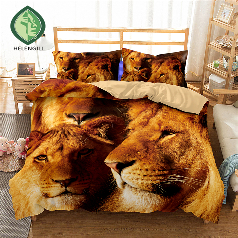 HELENGILI 3D Bedding set Lion Print Duvet cover set lifelike bedclothes with pillowcase bed set home Textiles #2-02HELENGILI 3D Bedding set Lion Print Duvet cover set lifelike bedclothes with pillowcase bed set home Textiles #2-02