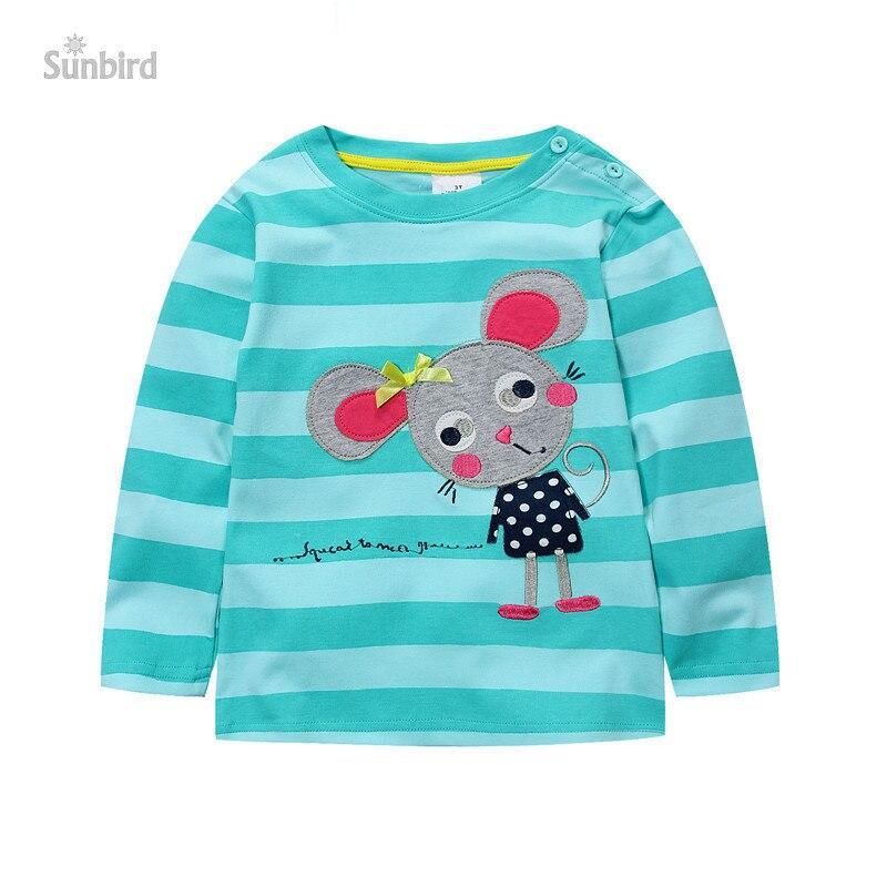 a59212d4cb509f BJT388, 6 sztuk/partia, Mysz, Wiosna Dzieci dziewczyny T Shirt, Z długim  rękawem Tee Top dla 1-6 T, 100% Bawełna