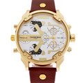 Shiweibao A3137 Big Dial Ouro Caso Masculino Relógio de Quartzo Pulseira de Couro Dupla Movt Militar Homens relógio de Pulso relogio masculino