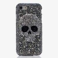 Das Mulheres Da Menina de luxo Handmade 3D Crânio de Diamante Strass Caso Tampa Do Telefone Para o iphone 4/4S/5/5S/6/6 S/7 Plus/Touch 5/6 fundas coque
