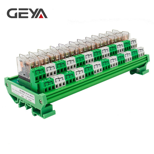 GEYA 2NG2R 12 Channel Omron Relay Module 2NO 2NC 12VDC 24VDC DPDT Relay PCB BOARD rotary knob dpdt 2no 2nc 8p 0 30seconds timing time relay dc 24v ah3 2