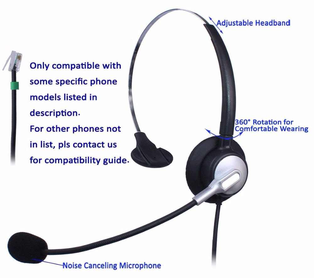 Wantek Call Center Telephone Headset for NEC Aspire DT300 DSX Polycom 335  400 Avaya 1416 6408D Aastra 6757i Mitel 5330 IP Phones