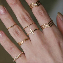 TTLIFE Cross Design Fashion Gold Color Knuckle Rings Set For Women Vintage Charm Finger Ring Female Party Jewelry 11pcs/Set
