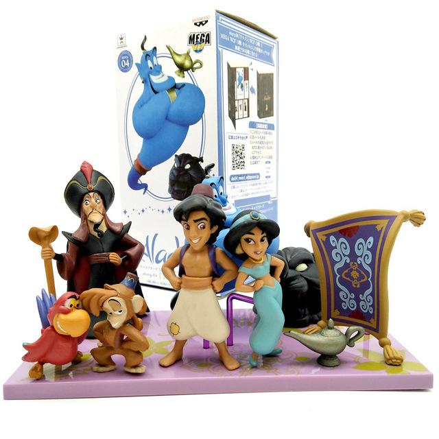 Disney  Aladdin Action Figures  Jasmine Genie Jafar 8pcs/set 2-10cm