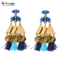 Artilady vintage triangle antic gold plated stud earrings fashion blue tassel earrings for women party jewelry
