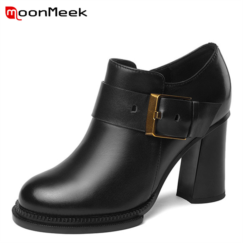 MoonMeek new arrive 2018 autumn winter women boots hot sale super high heeels ankle boots popular ladies genuine leather bootsMoonMeek new arrive 2018 autumn winter women boots hot sale super high heeels ankle boots popular ladies genuine leather boots