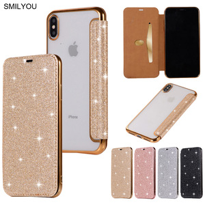 3D Glitter Wallet Case For iPhone X 8 Plus 5 5S 5E Case Sparkle Leather Bag For iPhone 6 6S 7 Plus XS Max Shockproof Cover Cases(China)