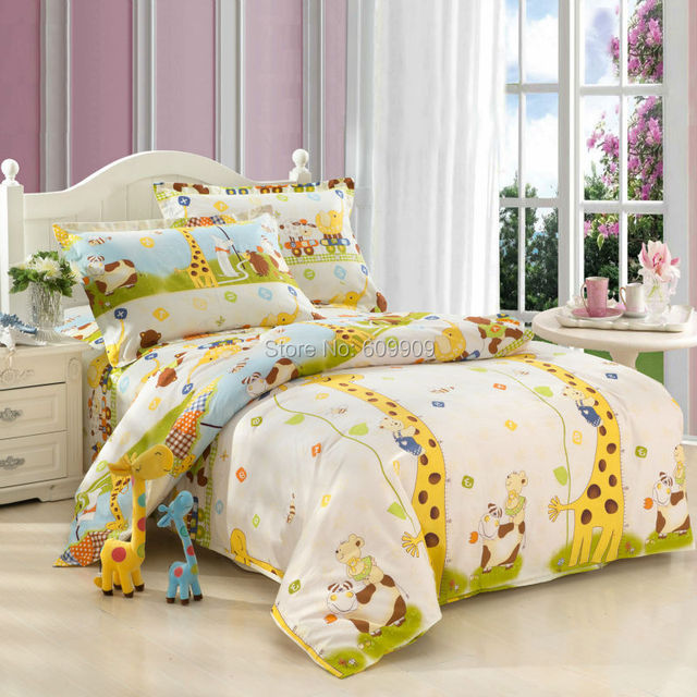 5 Pieces Giraffe Bedding Set Kids Queen Size Bedding Sheets Twin/Full/Queen  Duvet