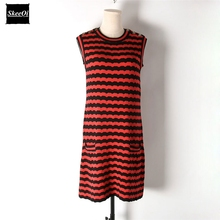 2018 New Slim Basic Knitted Sweater Dresses Women Sleeveless Striped Button Knitted Basic Casual Dress Spring Knitwear Vestidos