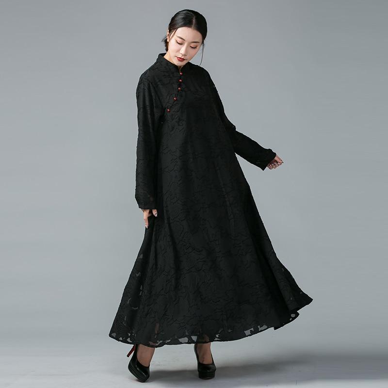Mandarin Élégante Plus National Noir 2017 Xl Automne 5xl Vent Femmes Robe Brûler Lâche Col Confortable Taille rouge Longue La Robes Fleur 6v7n8SxH6