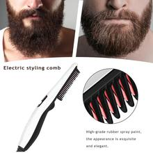 Multifunctional Styling Comb Beard Straightener Hair Styler Electric Hot Comb Hair Straightening Curling Brush for Men Women