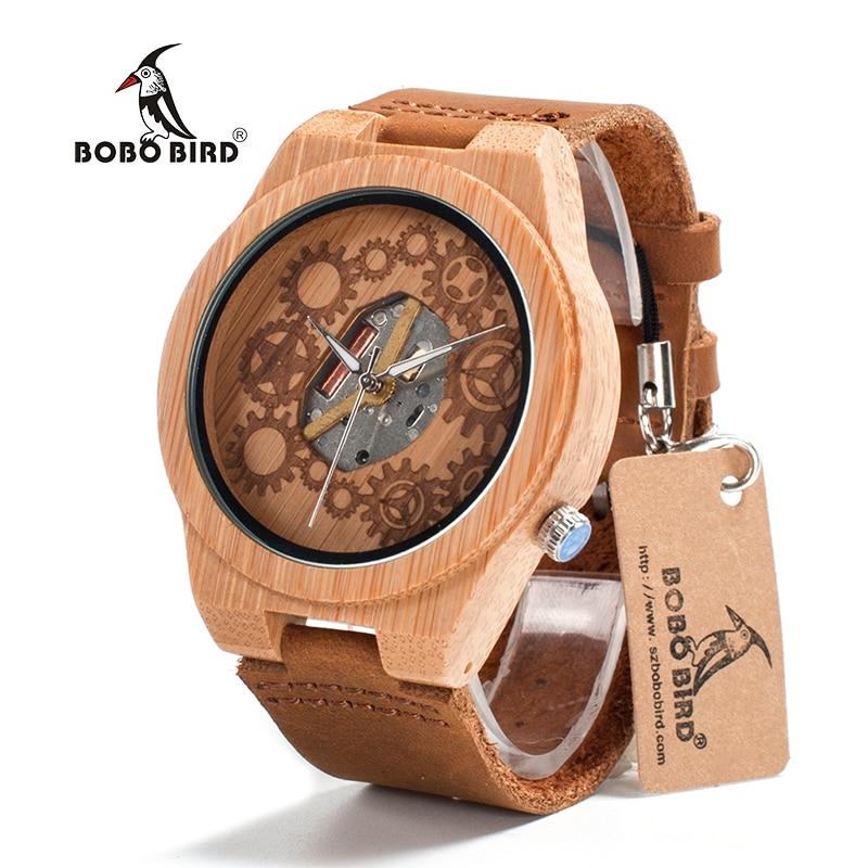 BOBO BIRD V-B09 Mens Bamboo Wood Watch 2035 Movement Exposed Design Luminous Hands Quartz Watch Montre Homme Marque De Luxe