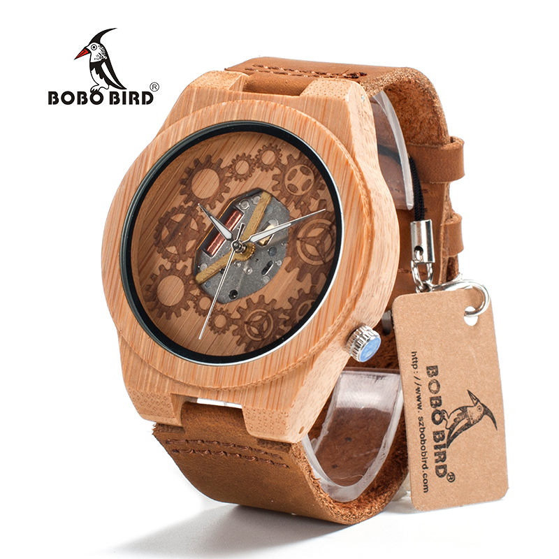 BOBO BIRD V-B09 Mens Bamboo Wood Watch 2035 Movement Exposed Design Luminous Hands Quartz Watch montre homme marque de luxe bobo bird brand new sun glasses men square wood oversized zebra wood sunglasses women with wooden box oculos 2017