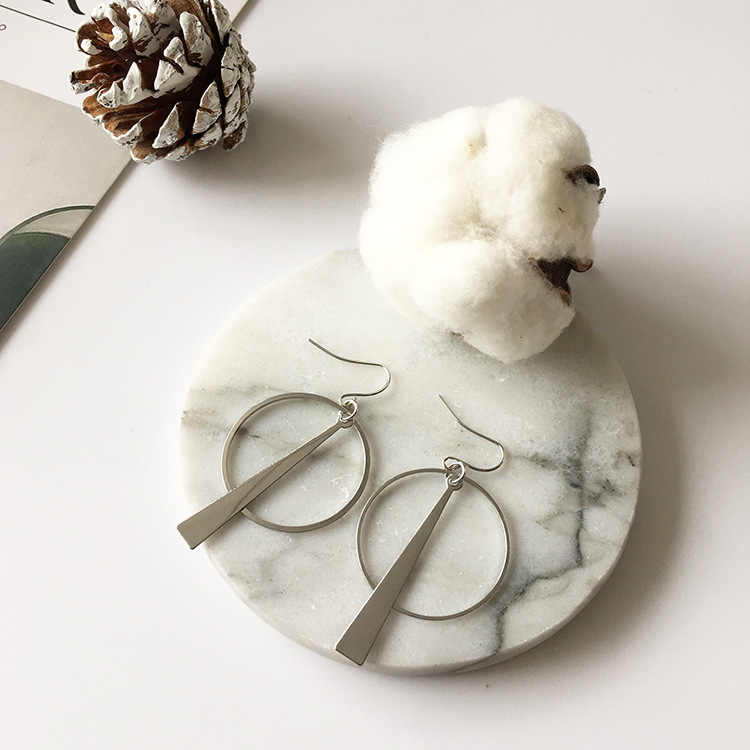 Coréia do sul brincos de jóias temperamento simples retro longo círculo linha orelha brincos geométricos para mulher brincos de declaração