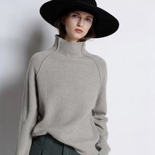 2019 New Autumn Winter Thick Cashmere Sweater Female Sets Of Loose Loose Lazy Wind Long Sleeve Short High Collar Sweater Wool