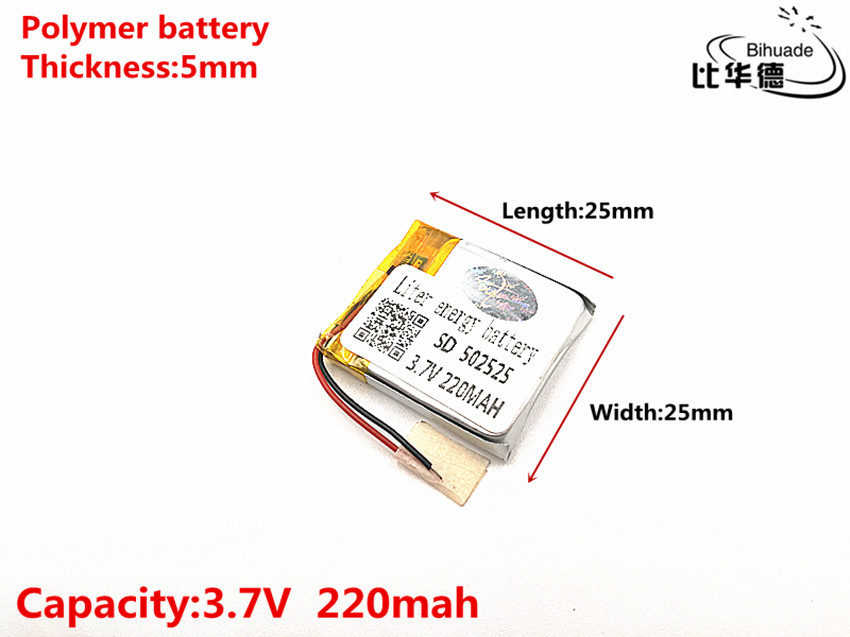 3.7V 220mAH <font><b>502525</b></font> Polymer lithium ion / Li-ion Rechargeable battery for DVR,GPS,mp3,mp4 image